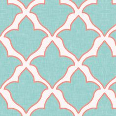 Fleur in Mint and Coral fabric by sparrowsong on Spoonflower - custom fabric