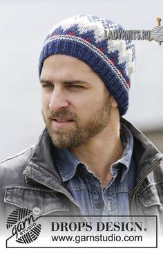 вязаая спицами шапка для мужчины