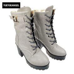 Cheap punk shoes, Buy Quality black ankle boots women directly from China black ankle boots Suppliers: 2018 New Arrival Faux Leather Buckle Strap Lace Up Black Ankle Boots Woman Square heel Round Toe Punk Shoes For Womens Women's Boots, Combat Boots, Punk Shoes, Leather Buckle, Boots Women, Court Shoes, Fashion Labels, Black Ankle Boots, Dress Shoes