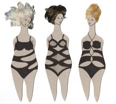 Paper doll / bookmark / set of 3 /swimmers