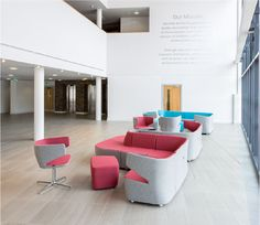 Mr Jones modular sofas are great for creating large and small configurations of soft seating in a reception or waiting area