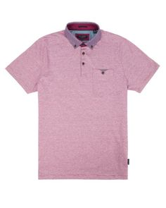 Patterned collar polo - Pink | Tops & T-Shirts | Ted Baker