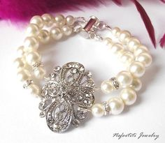 Vintage style Bridal bracelet wedding bracelet by nefertitijewelry2009, $44.00