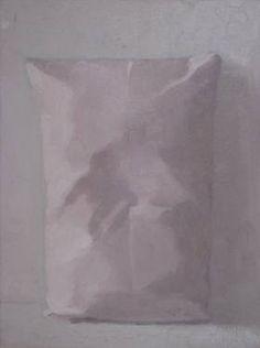 """Pink Pillow II,"" original figurative painting by artist Alex Hanna (UK) available at Saatchi Art #SaatchiArt"