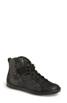 ECCO+'Aimee'+High+Top+Sneaker+(Women)+available+at+#Nordstrom Studded Belt, Leather Sneakers, Crocs, Shoe Boots, High Top Sneakers, Addiction, Nordstrom, Black, Women