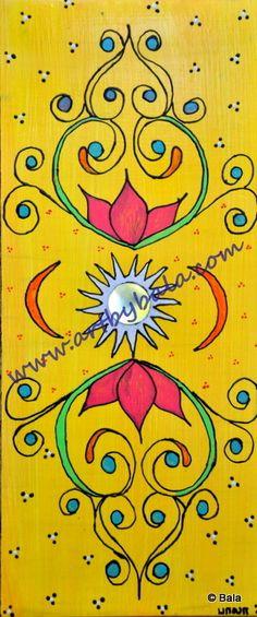 Sun & Lotus, 2012. Textured henna style acrylics on wood. © Bala Thiagarajan. 2012. www.artbybala.com