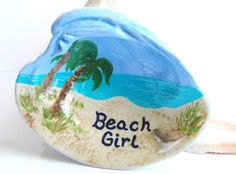 Hand painted clam shell beach girl  ~~~