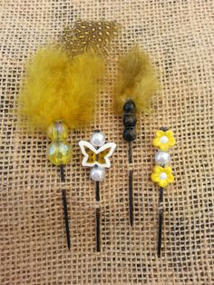 Bumblebee Beaded Push Pin Set by GrlFridayProductions on Etsy, $5.00