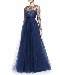 Notte By Marchesa Long-sleeve Illusion Full-skirt Gown in Blue (notte)