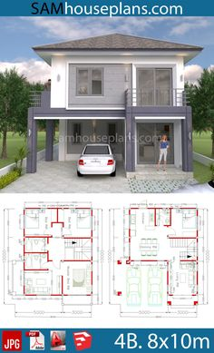 House Plans with 4 Bedrooms. This villa is modeling by SAM-ARCHITECT With Two stories level. It's has 4 bedrooms.Simple Home Design Small Modern House Plans, Small House Floor Plans, Simple House Plans, Simple House Design, 2 Storey House Design, Duplex House Design, Duplex House Plans, Dream House Plans, Four Bedroom House Plans