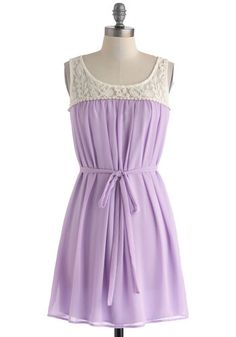 Living in Harmony Dress - Chiffon, Sheer, Short, Purple, Tan / Cream, Crochet, Lace, Belted, A-line, Sleeveless, Scoop, Solid, Casual, Daytime Party, Pastel, Spring, Summer