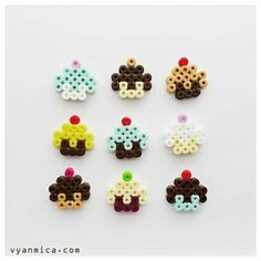 Teenie Tiny Cupcakes made of Hama Iron Beads Perler Bead Designs, Hama Beads Design, Diy Perler Beads, Pearler Bead Patterns, Perler Bead Art, Perler Patterns, Hama Perler, Hama Beads Kawaii, Art Perle