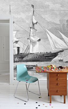 """Ships Wall Mural, Black and White Wallpaper, Vintage Illustration - 100"""" x 72"""" by anewalldecor on Etsy https://www.etsy.com/listing/182585205/ships-wall-mural-black-and-white"""