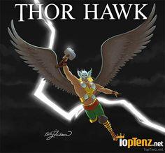 10 Marvel DC Superhero Mashups - Thor Hawk (Thunderbird?) -- http://www.toptenz.net/10-marvel-dc-superhero-mashups.php