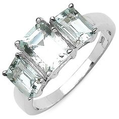 1.8 Carat 3 stone Aquamarine on Sterling Silver
