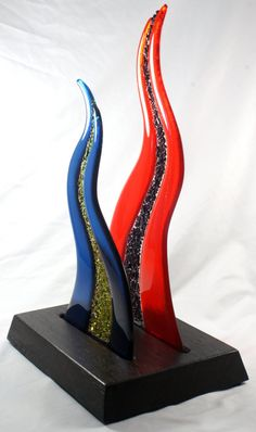 Fused Glass Sculpture with Exotic Wood Base by JMFusions on Etsy, $550.00