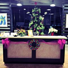 Our office is beautifully decorated for the holidays. (Safely of course! Cubicle Decorations, Office Christmas Decorations, Holiday Crafts, Holiday Fun, Office Cubicle, Xmas Holidays, All Things Christmas, Seasonal Decor, Creative