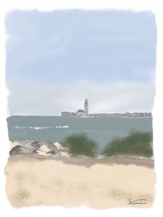 Casablanca, digital art © KA's Casablanca, Niagara Falls, Digital Art, Beach, Water, Travel, Outdoor, Abstract Backgrounds, Drawing Drawing