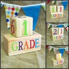 Baby Age Blocks - Photo Prop- Weeks, Months, Years and Grade $32