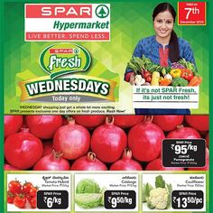 #SPARWednesdayFresh Your search for great deals and discounts ends here. Enjoy awesome single-day deals and the lowest prices on a range of fresh produce and everyday essentials only on Wednesdays. Make a fresh start to a healthier you on a budget. Shop at a SPAR hypermarket TODAY!