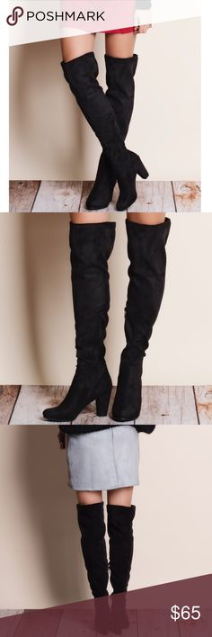 Black Suede Over The Knee Boots Black suede over the knee boots with side zipper. Runs true to size. This is an ACTUAL PIC of the item - all photography done personally by me. Heel height approx 3.5 inches. PRICE IS FIRM. NO TRADES DON'T ASK. Breckelles Shoes Over the Knee Boots