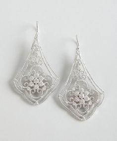 Leslie Greene : sterling silver and diamond cutout teardrop earrings