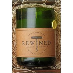 Recycled Wine Bottle 60-80 Hour Soy Wax Candle - Chardonnay. Fragrances inspired by the characteristics of your favorite wines. 100% natural & handmade.