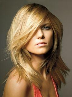 Inspiration: Blond layers medium length mid length, medium haircuts, hair colors, new hair, blond, hairstyl, beauty, fring, bang