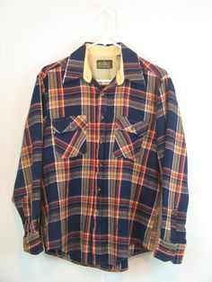 Vintage Boyfriend Plaid Shirt  Sportsworld by SEARS Men's size M 100% Acrylic made in Korea Navy-Tan-Red-White Plaid in excellent condition. by PinkyLaRoux on Etsy