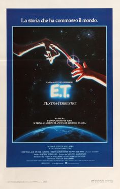 "Film: E.T. The Extra Terrestrial (1982) Year poster printed: 1982 (first wide theatrical release in Italy) Country: Italy Size: 13"" x 27 1/2"" This is an original Italian locandina movie poster from 19"