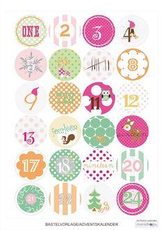 Paul & Paula free printable advent calendar tags