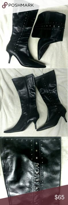 ❤ Michael Kors Kitten Heel Leather Boots!!❤ Beautiful Boots!!! Just below the knee Kitten Heel Boots by Michael Kors!!! Supple Black Leather with Gorgeous Detail and Silver Hardware!!! Michael Kors Shoes Heeled Boots