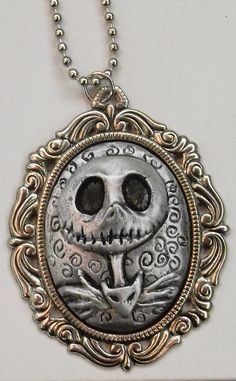 Items similar to Jack Skellington Nightmare Before Christmas Cameo necklace / pendant on Etsy Tim Burton, Nightmare Before Christmas, Samhain, Cute Jewelry, Jewelry Accessories, Biscuit, Jack The Pumpkin King, Cameo Necklace, Key Necklace
