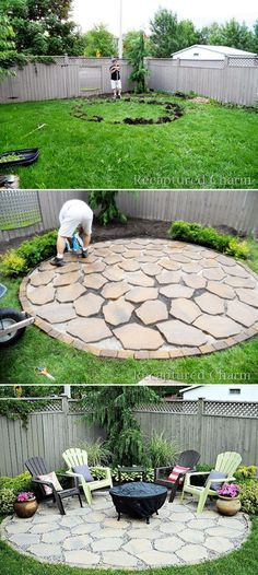 Einfache Landschaftsgestaltung Simple Landscaping Simple and Simple Landscaping Ideas and Garden Designs, Drawing Cheap Pool Landscaping Ideas for Backyard, Front Yard Landscape … Cheap Pool, Fire Pit Area, Back Yard Fire Pit, Dyi Fire Pit, Small Fire Pit, Fire Fire, Back Yard Oasis, Paver Fire Pit, Front Yard Landscaping