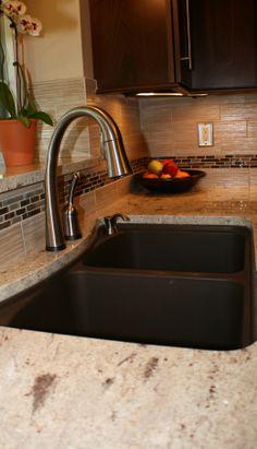 Matte Brown Sink With Mosaic Tile Backsplash