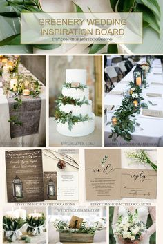 Greenery wedding inspiration board. Greenery wedding invitations can be found at https://www.etsy.com/shop/NotedOccasions?ref=hdr_shop_menu&search_query=greenery