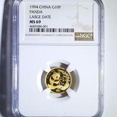 China 1994 Large Date Gold Panda 10 Yuan 1/10 oz MS 69 NGC RARE 307