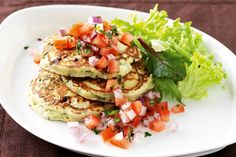 Spinach and feta pancakes - I cut down the sugar to (could probably use none at all), and used 1 cup w'meal flour, cup white flour, 1 cups finely chopped baby spinach leaves. Veggie Recipes Healthy, Vegetarian Recipes, Cooking Recipes, Savoury Recipes, Savory Pancakes, Pancakes And Waffles, Spinach Pancakes, Vegetable Dishes, Vegetable Recipes