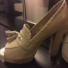 N.Y.L.A. Lettis Pumps- tan Tan, paten leather, gently worn. Size 8. No box. N.Y.L.A. Shoes Heels