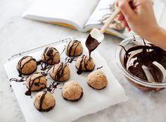 Chocolate-Dipped Vanilla Bean Macaroons