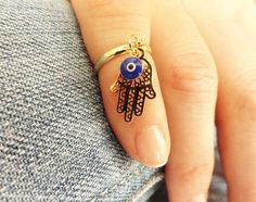 Hamsa knuckle ring evil eye above the knuckle ring by Handemadeit, $12.90
