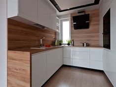 white handleless kitchen fronts, worktop and again wall in wooden look - Room Design Small Kitchen Layouts, Handleless Kitchen, Kitchen Design, Living Room Kitchen, Kitchen Cabinet Design, Kitchen Decor, Modern Kitchen, White Kitchen Pictures, Kitchen Cabinets