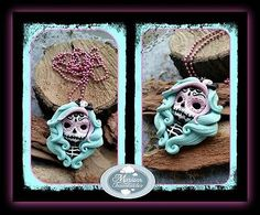 FIMO KETTE-Mexican Sugar Skull -Pastell