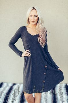 Modest Swing Button Up Dress {more colors}