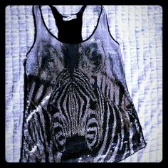 SEQUINCED RACER BACK TANK - ZEBRA DESIGN Sligtly used, good condition Forever 21 Tops Tank Tops