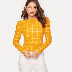 Women Long Sleeve Stretchy Casual Elegant T-shirt #Tops #TShirts #Casualtshirt #Elegant #Stretchy #casualwear #casualoutfits #Officewear Fall Collection, T Shirts For Women, Clothes For Women, Elegant Woman, Types Of Sleeves, Long Sleeve, Grid, Mock Neck, Parisian Fashion