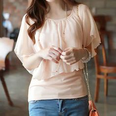 Sweet Style Batwing Sleeve Scoop Neck Faux Twinset Women's T-Shirt PINK In Pinko Lifestyle Store | YoShop