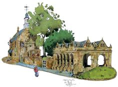 My #watercolour painting of Chipping Campden in the #Cotswolds. The houses are the colour of toast.