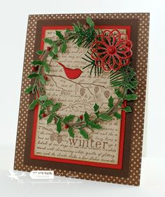 Winter by Pam Sparks - using Memory Box Holly Wreath die and Bramble Circle die