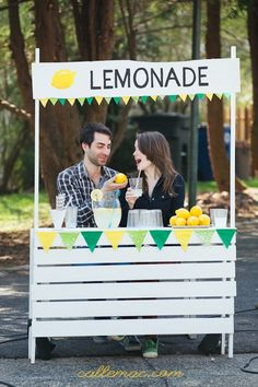 Prop for video shoot: DIY lemonade stand, constructed from various wood pieces at Home Depot